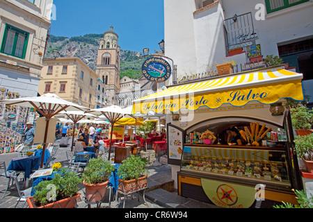 Gelateria, ice creams, on the Piazza Flavio Gioia, ,  Coast, Unesco World Heritage Site, Province of Salerno, Gulf - Stock Photo