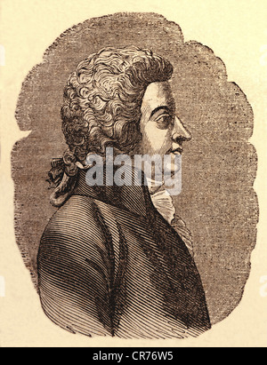 Mozart, Wolfgang Amadeus, austrian composer, born 27.01.1756 in Salzburg, died 05.12.1791 in Vienna, engraving from - Stock Photo