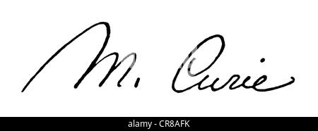 Curie, Marie, 7.11.1867 - 4.7. 1934, French chemist and physicist, Polish descent, signature, scientist, scientists, - Stock Photo