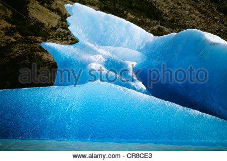 Glacial ice, Los Glaciares National Park, Argentina - Stock Photo