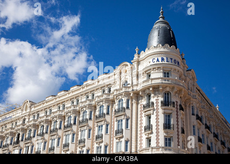 Front facade of the Carlton Hotel, Cannes, Cote d'Azur, France - Stock Photo