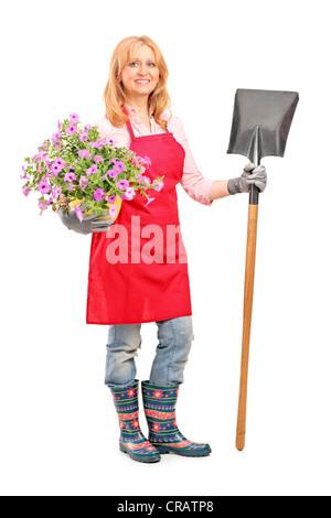 Full length portrait of a female gardener holding a shovel and flowers isolated on white background - Stock Photo