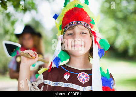 Boy wearing Indian costume outdoors - Stock Photo