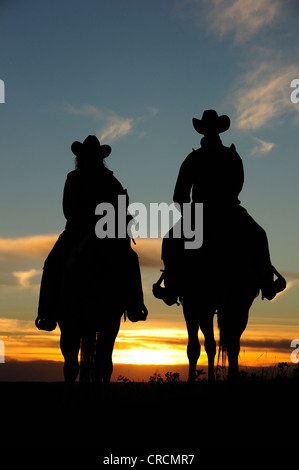 Cowgirl and Cowboy sitting on horseback at sunset, Saskatchewan, Canada, North America - Stock Photo