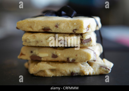 Stack of shortbread tied with ribbon - Stock Photo