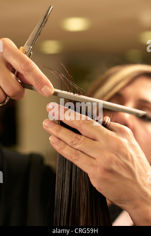 Close-up view of hairstylist cutting hair Stock Photo ...