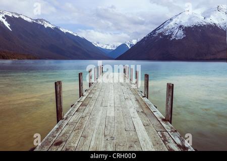 The old jetty at Lake Rotoiti, Nelson Lakes National Park, New Zealand. - Stock Photo