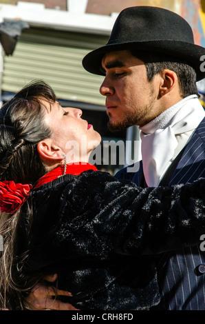 Tango dancers in Caminito La Boca Buenos Aires Argentina South America - Stock Photo