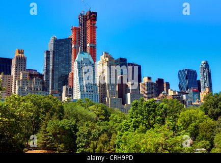 skyline of Central Park South in New York City - Stock Photo