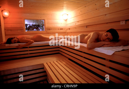 sigmaringen germany couple in the sauna stock photo 48946297 alamy. Black Bedroom Furniture Sets. Home Design Ideas