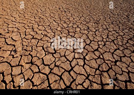 Cracked soil in Sarigua national park (desert), in Herrera province, Republic of Panama. - Stock Photo