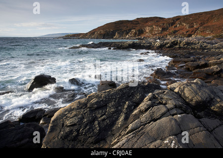 The small beach of Camas Daraich with the Point of Sleat in the distance, Sleat peninsula, Isle of Skye, Scotland - Stock Photo