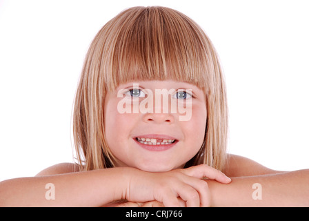 little girl with with straight blond hair in pageboy style - Stock Photo