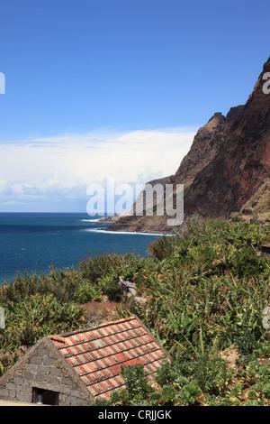 wild Atlantic Ocean looking from Jardim do Mar towards Paul do Mar, Madeira, Portugal, Europe. Photo by Willy Matheisl - Stock Photo