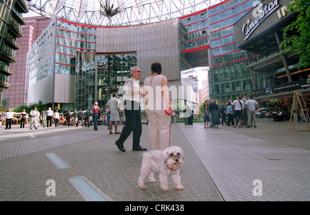 Dog on the premises of the Sony Center at Potsdamer Platz - Stock Photo