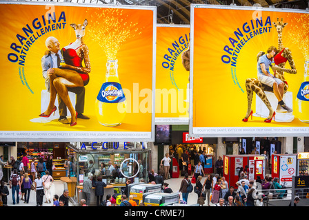 Paris, France, High Angle View of, French Soft drink Advertising Billboards, Posters, in Train Station, 'Gare de - Stock Photo