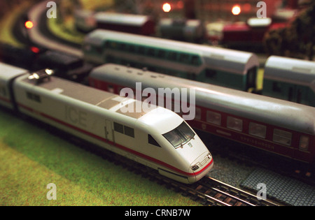 Trains of Deutsche Bahn in the model - Stock Photo