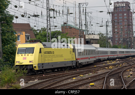 German Railways locomotive advertising documenta (13) exhibition - Stock Photo