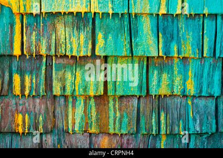 Shingled wall of a fisherman's shed in Nova Scotia, Canada. - Stockfoto