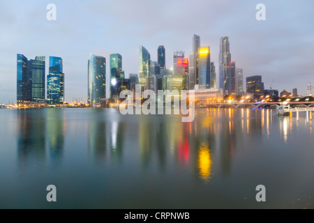 South East Asia, Singapore, City Skyline, View across Marina Bay to the Financial and Business district of Singapore - Stock Photo