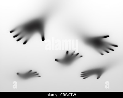 Abstract hands behind a frosted glass surface - Stock Photo