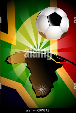 South Africa Flag  Soccer Ball Background - Stock Photo