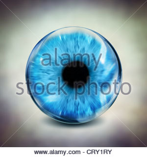 glass blue eye - Stock Photo