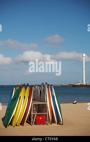 Weymouth beach and Sealife Tower, Jurassic Skyline Tower, at Weymouth in June - Stock Photo