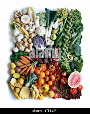 Close up of produce arranged in square - Stock Photo