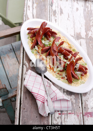 Plate of sausages with egg dish - Stockfoto
