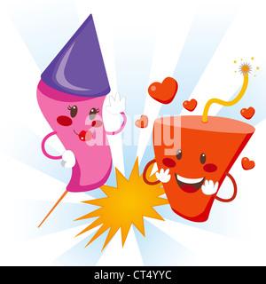 Cute fireworks falling in explosive love celebration - Stock Photo