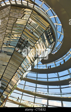 Cone shaped funnel in cupola  Reichstag building designed by Sir Norman Foster Berlin Germany EU Europe - Stock Photo