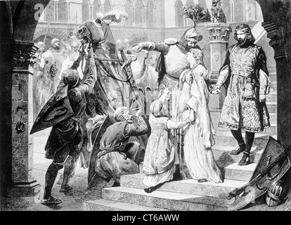 Illustration of a Knight bidding lady farewell - Stock Photo