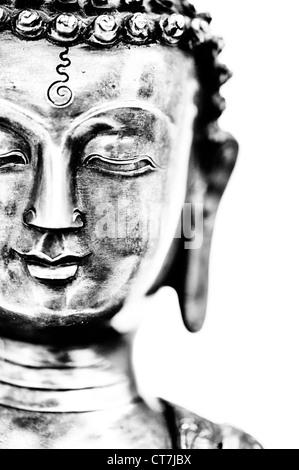 Buddha statue on white background. Monochrome - Stock Photo