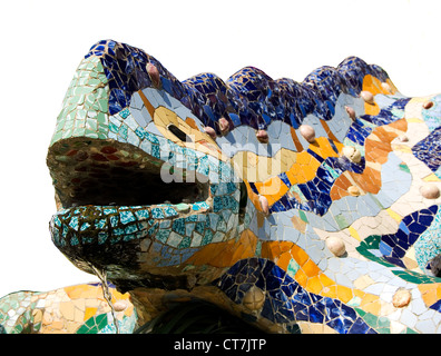 the famous chamaeleon in parc guell styled by antonio gaudi (Lizard) - Stock Photo