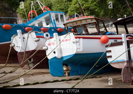 Fishing Boats in Harbour at Newquay - Stock Photo