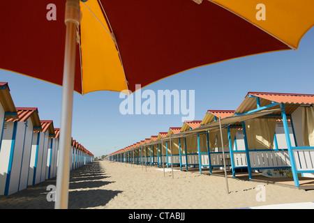 Bathing huts on the beach at Lido di Venezia, Venice, Veneto, Italy - Stock Photo