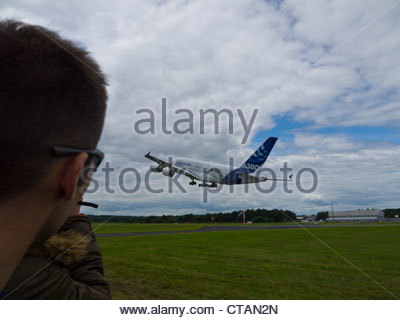 Airbus A380 Taking off Farnborough 2012 - Stock Photo
