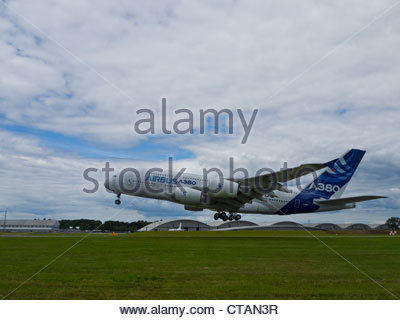 Airbus A380 Taking off Profile Farnborough 2012 - Stock Photo