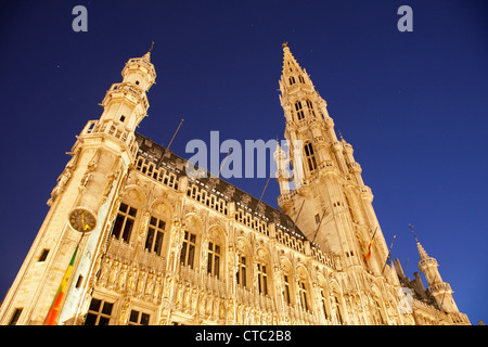 Brussels - The Town hall in evening. UNESCO World Heritage Site. - Stock Photo