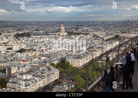 A view of the city from the first floor Eiffel Tower in Paris, France. - Stock Photo