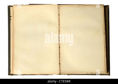 Open vintage book with blank pages isolated over white background - Stock Photo