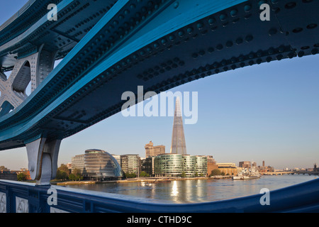 England, London, Southwark, Tower Bridge and The Shard - Stock Photo