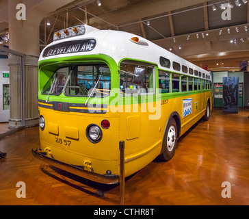 Bus on which Rosa Parks refused to give up her seat in Montgomery in 1955, Henry Ford Museum, Dearborn, Detroit, - Stock Photo