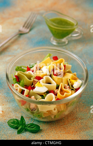 Pasta salad with almonds pesto. Recipe available. - Stock Photo