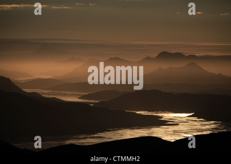 Hiking on the Laugavegur trail in Iceland near Landmannalaugur - Stock Photo