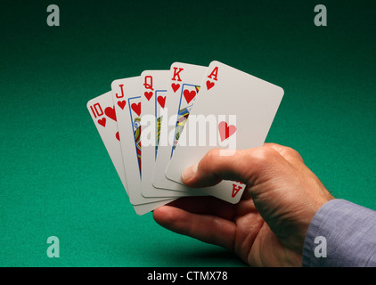A man's hand holding playing cards on a green table.A Royal Flush of hearts in the game of Poker - Stock Photo