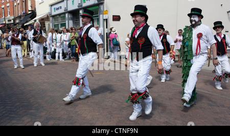 Morris dancers at Warwick folk festival - Stock Photo