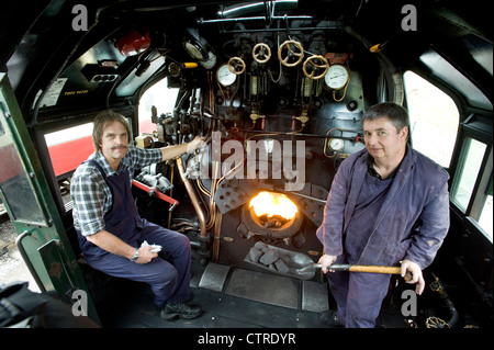 steam locomotive driver and fireman on a nymr train at
