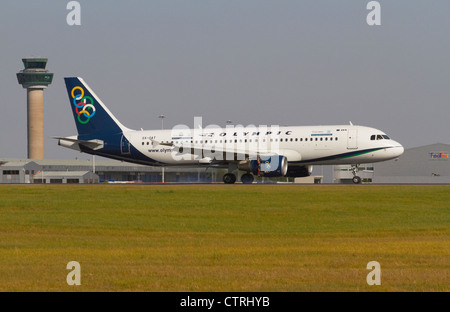 Olympic Air Airbus A320-214 landing on runway - Stock Photo